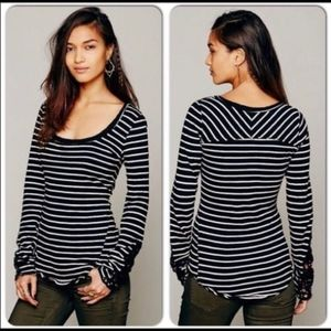 Free People Stripe Tuscaloosa Tee Knit Cuff 1569